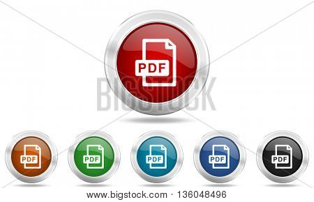 pdf file round glossy icon set, colored circle metallic design internet buttons
