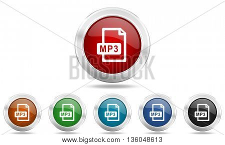 mp3 file round glossy icon set, colored circle metallic design internet buttons