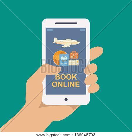 Booking online flights travel or ticket illustration.