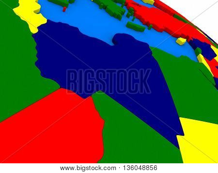 Libya On Colorful 3D Globe