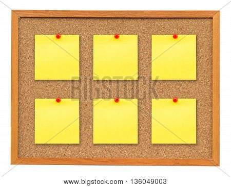 Six Note Paper On Cork Board Isolated On White With Clipping Path.