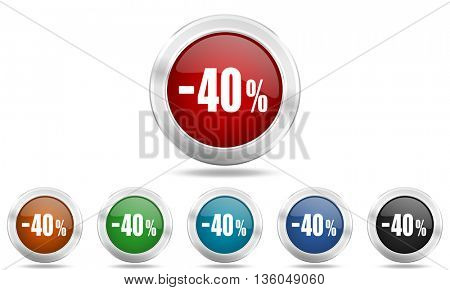 40 percent sale retail round glossy icon set, colored circle metallic design internet buttons