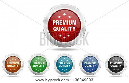 premium quality round glossy icon set, colored circle metallic design internet buttons