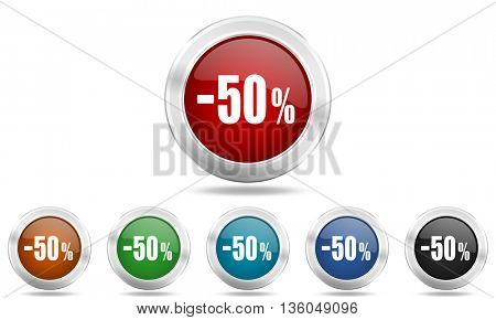 50 percent sale retail round glossy icon set, colored circle metallic design internet buttons