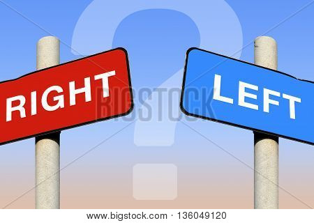 Left and right signs with a question mark against a blue sky