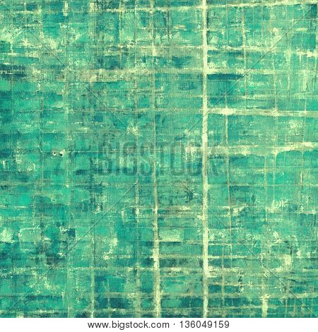 Vintage frame, grunge background with old style decor elements and different color patterns: gray; green; blue; cyan