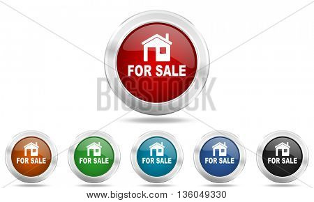 for sale round glossy icon set, colored circle metallic design internet buttons