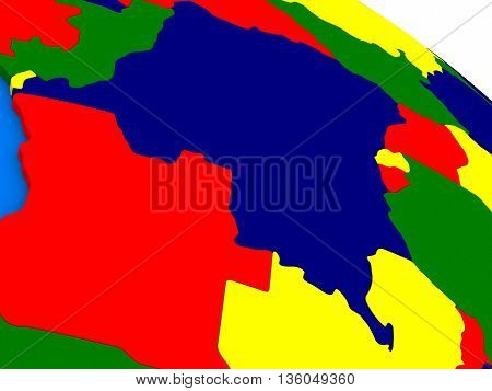 Democratic Republic Of Congo On Colorful 3D Globe
