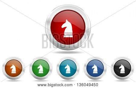 chess horse round glossy icon set, colored circle metallic design internet buttons
