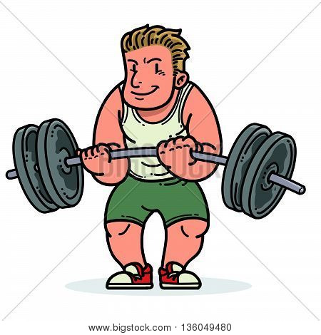 Vector illustration of a man doing weightlifting