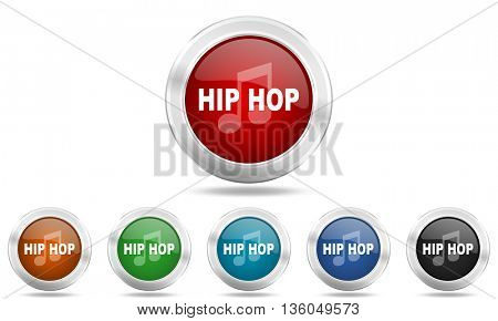 hip hop round glossy icon set, colored circle metallic design internet buttons