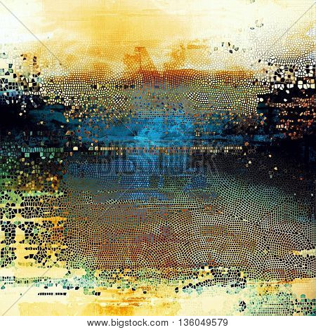 Vintage texture or antique background with grunge decorative elements and different color patterns: yellow (beige); brown; blue; red (orange); black; white