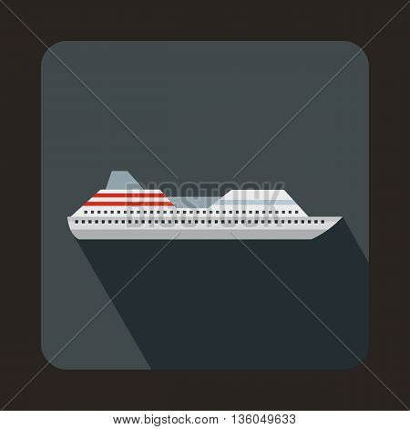 Cruise liner icon in flat style on a gray background