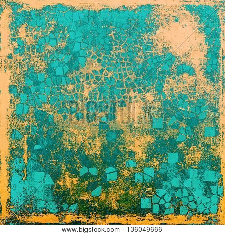 Grunge texture, aged or old style background with retro design elements and different color patterns: yellow (beige); gray; green; blue; cyan