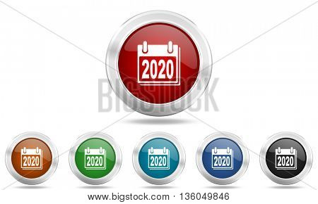 new year 2020 round glossy icon set, colored circle metallic design internet buttons