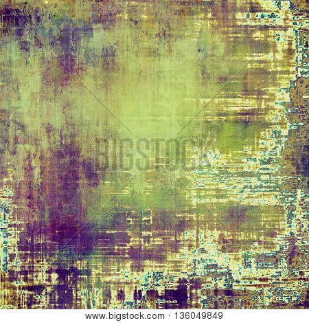 Retro abstract background, vintage grunge texture with different color patterns: yellow (beige); brown; green; purple (violet); cyan