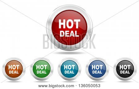 hot deal round glossy icon set, colored circle metallic design internet buttons