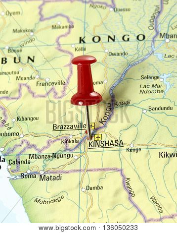 Map with pin set on Kinshasa, Congo.