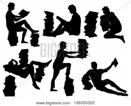 Silhouettes sitting, lying and standing student with textbooks and scripts