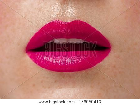 Woman Lips Close Up Red Lipstick