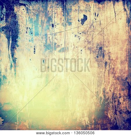 Retro abstract background, vintage grunge texture with different color patterns: yellow (beige); brown; blue; purple (violet); cyan