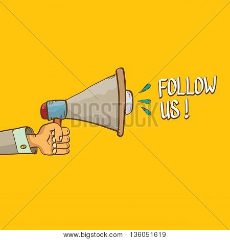 doodle Follow us vector banner. comic Follow us on online media social networking image. Follow us concept hand drawn illustration for web.