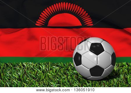 Soccer Ball On Grass With Malawi Flag Background, 3D Rendering