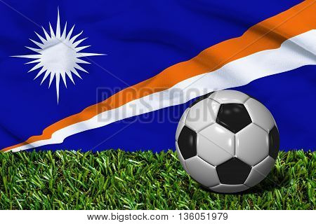 Soccer Ball On Grass With Marshall Islands Flag Background, 3D Rendering