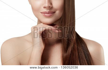Woman Lips Nose Nature Skin Hand In Chin