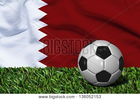 Soccer Ball On Grass With Qatar Flag Background, 3D Rendering