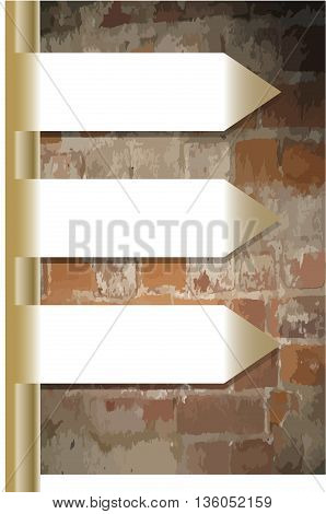 Infographics template with metal signpost and grunge brick wall
