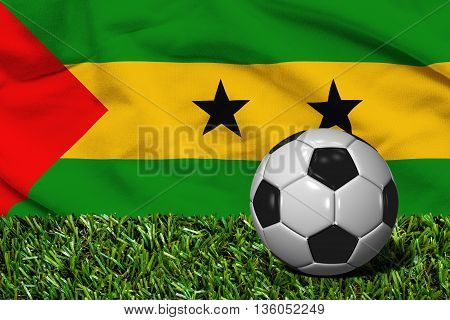 Soccer Ball On Grass With Sao Tome And Principe Flag Background, 3D Rendering