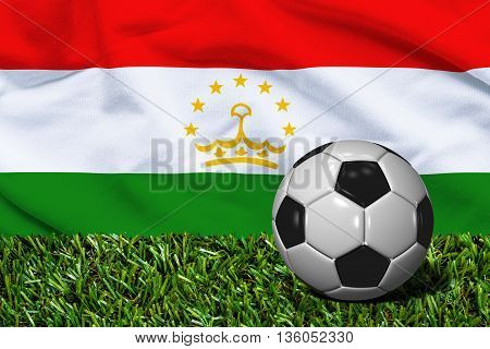 Soccer Ball On Grass With Tajikistan Flag Background, 3D Rendering