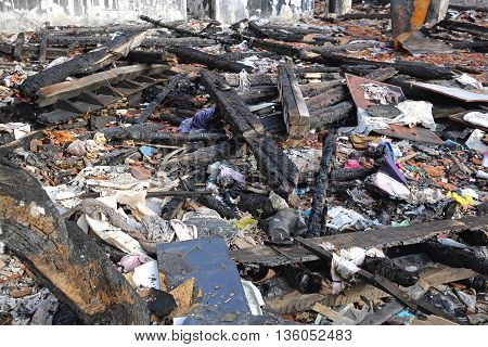 Scattered Debris in Garment Factory After Fire Damage