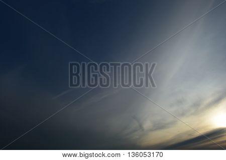 Landscape summer evening blue sky at sunset