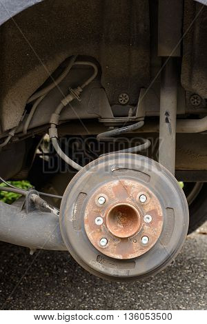 Back of car Brakes and shock absorber