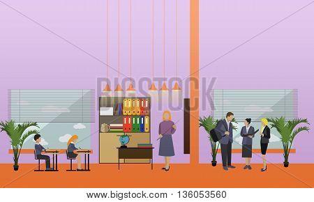 School concept vector banner. School interior, pupils studying in classroom, teachers.