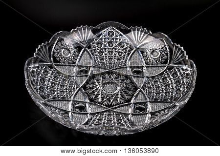Beautiful big Crystal dish on a black background