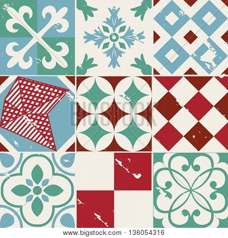 Vintage style cement tile background full vector