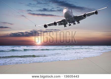 Trazador de líneas del jet sobre la playa