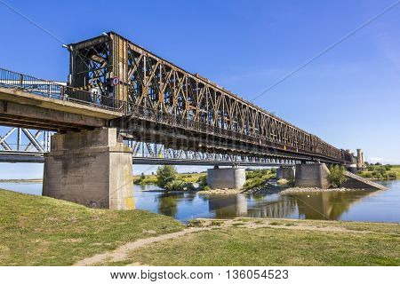 TCZEW, POLAND - AUGUST 29: Historic road bridge in Tczew built in the years 1851-1857 on August 29, 2014 in Tczew.