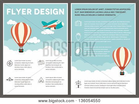 A hot air balloon themed design template for a flyer
