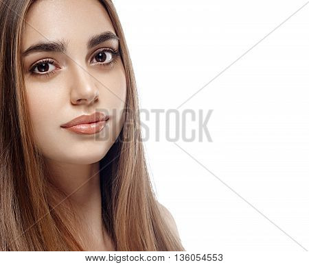Beautiful Woman Veith Long Healthy Hair Portrait Face Studio Isolated On White