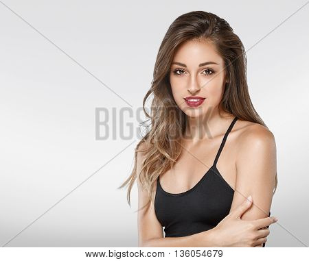 Beautiful Woman Portrait Face Studio Isolated On Gray Background