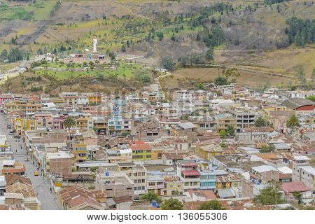 Aerial view cityscape scene of small Alausi town in Ecuador