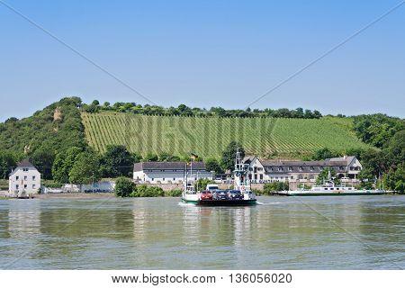 NIERSTEIN,GERMANY-JUNE 24.06.2016: car ferry on the Rhine river in Nierstein, Germany