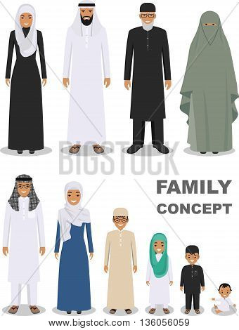 All age group of arab man family. Generations man. Stages of development people - infancy, childhood, youth, maturity, old age. Arab people father, mother, son, daughter, grandmother and grandfather standing together in traditional islamic clothes. Social