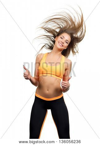 Young sporty dancing girl isolated