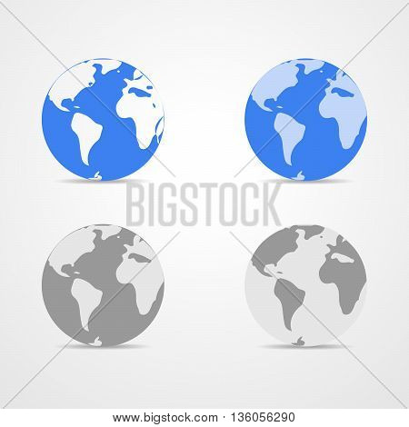 Set of blue and monochrome Earth globes isolated on white background. Light - blue simple scheme of the globe. Collection of icons Earth Globe - vector illustration. Illustration of earth design.