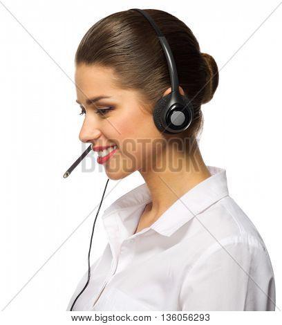Customer service operator isolated on white